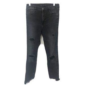 Zara High Rise Distressed Skinny Jeans Black Ram H